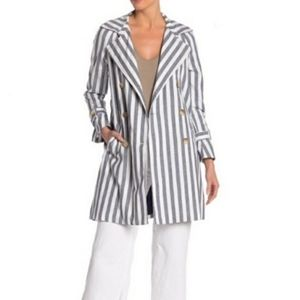CoffeeShop White And Blue Striped Jacket